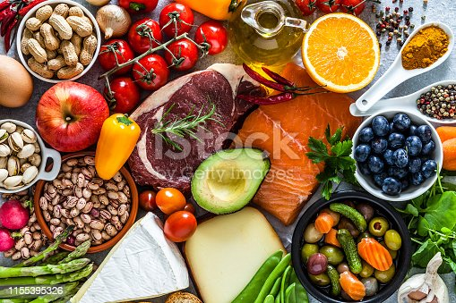 istock Food backgrounds: table filled with large variety of food 1155395326
