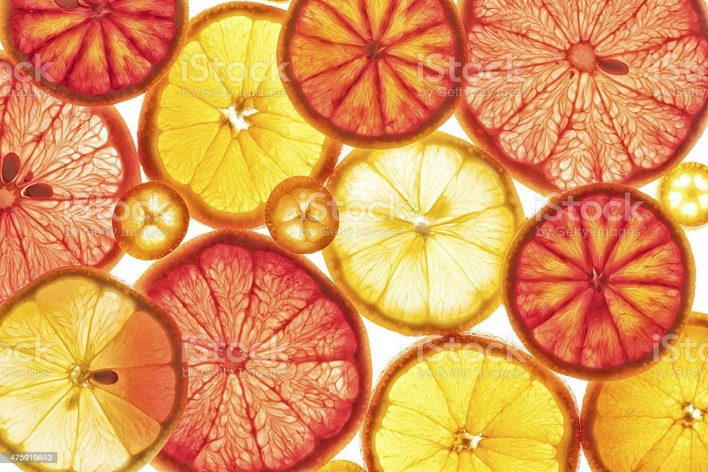 Food: Backlit Citrus Fruits, lemon, grapefruit, orange, blood or stock photo
