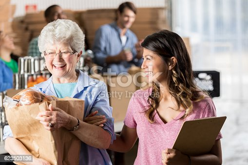 istock Food bank manager assists woman with donation 623503136