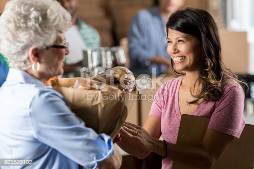 istock Food bank manager gives a woman groceries during food drive 623523102