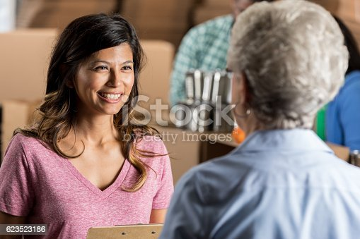 istock Food bank manager talks with senior volunteer 623523186