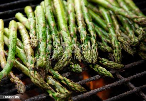 fresh Asparagus bunch on grill