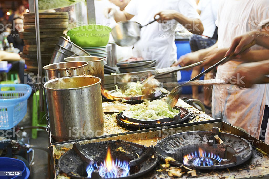 Food being prepared at a Thai restaurant stock photo