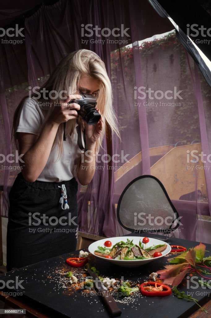 food blogger backstage working process stock photo