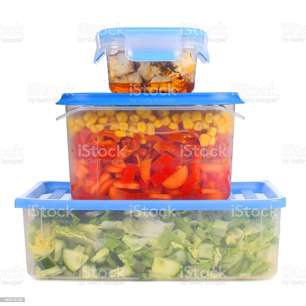 Food boxes storage stock photo