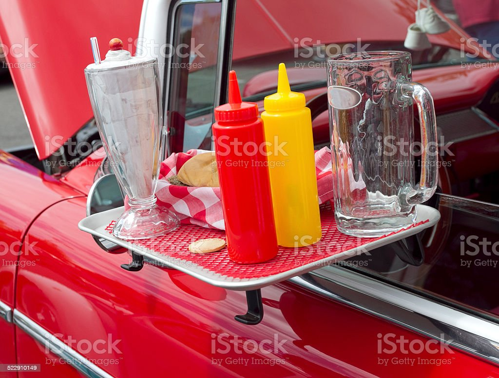 Food break at a drive-in restaurant stock photo