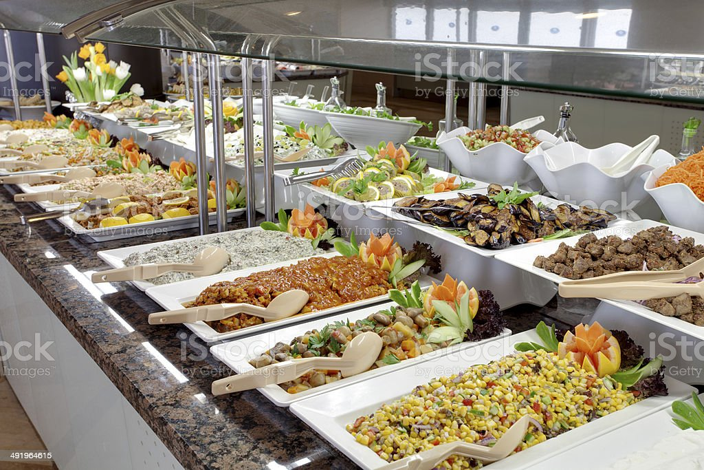 food buffet in restaurant stock photo