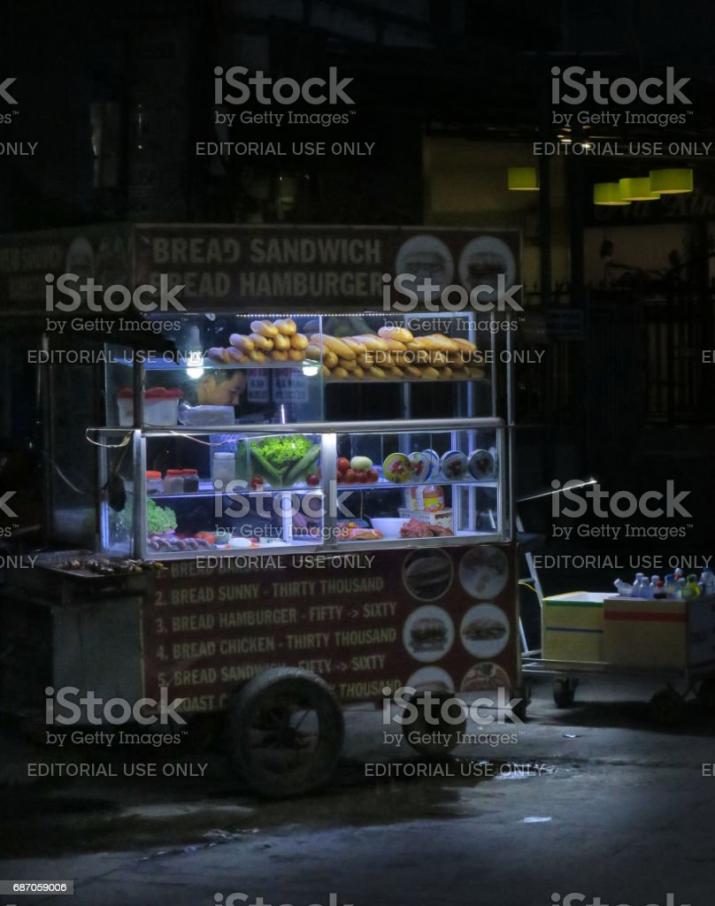 Food cart at night, Hoi An, Vietnam stock photo