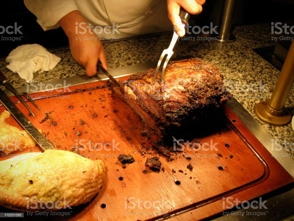 Food: Carving Prime Rib royalty-free stock photo