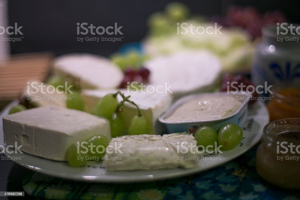 Food - Cheese and grapes stock photo
