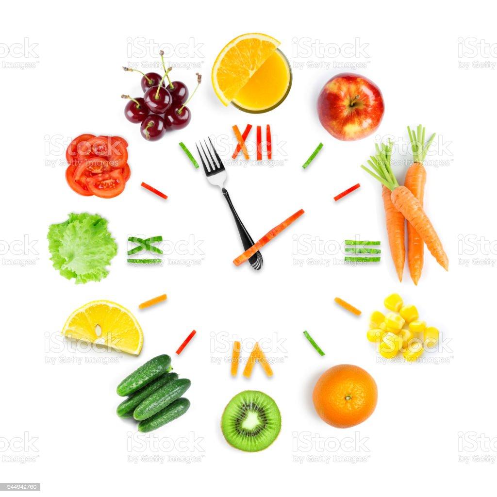 Essen-Uhr mit frischem Obst und Gemüse – Foto