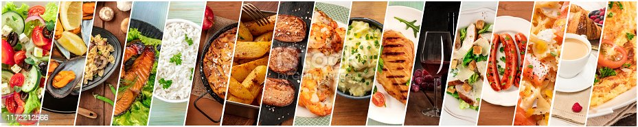 istock Food Collage. A design template with many tasty dishes 1172212566