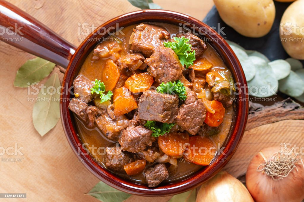 Food concept french classic beefs stew estouffade de boeuf with copy space Food concept french classic beefs stew estouffade de boeuf with copy space Autumn Stock Photo