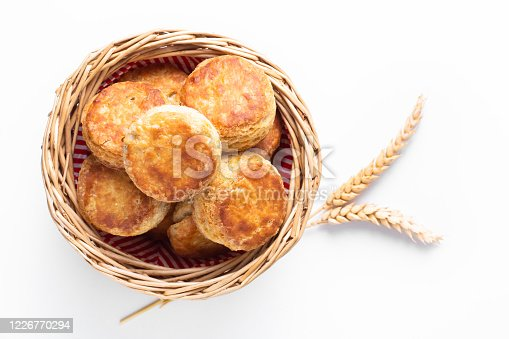 istock Food concept Homemade browned crust butter milk American biscuits or Scones with copy space 1226770294