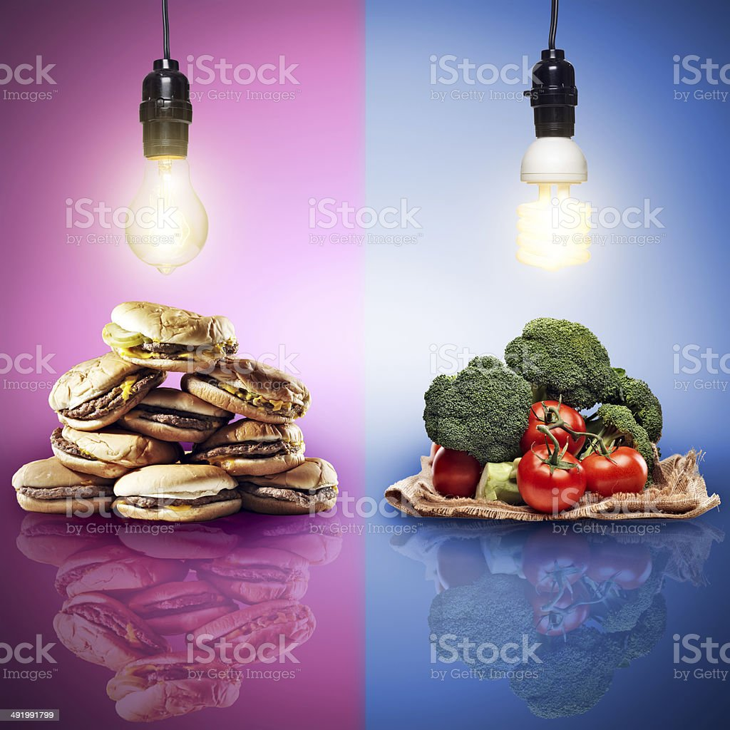 food concept shot with contrasting food stock photo