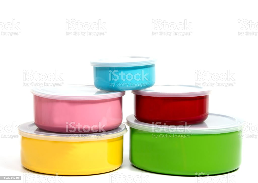 Food Container or Plastic food storage containers stock photo