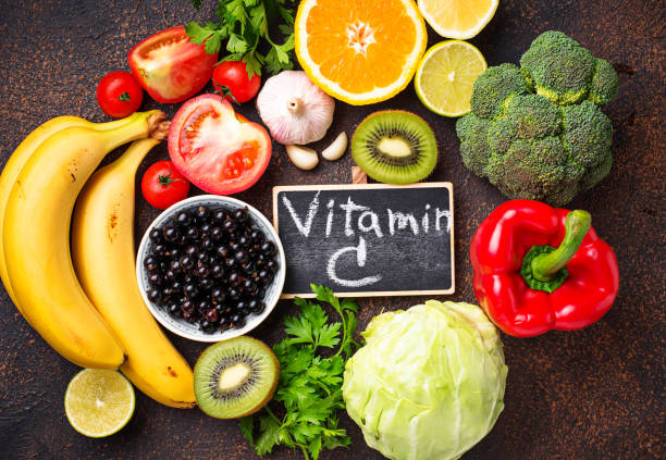 Food containing vitamin C. Healthy eating stock photo