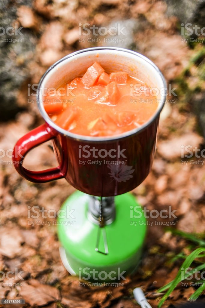 Food cooking on a gaz stove outdoor stock photo