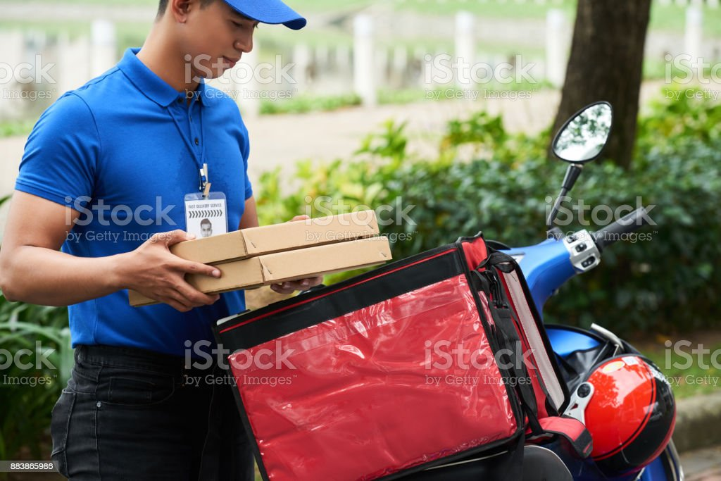 Food courier stock photo