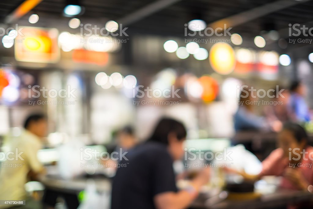 Food court and customer blurred background with bokeh stock photo