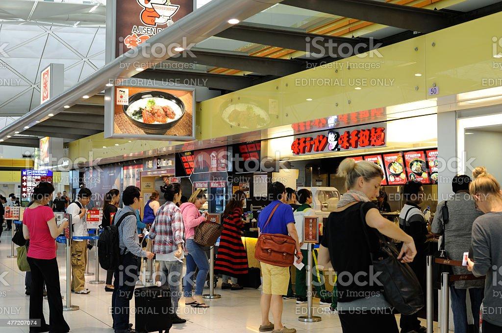 Food Court at Hong Kong International Airport stock photo