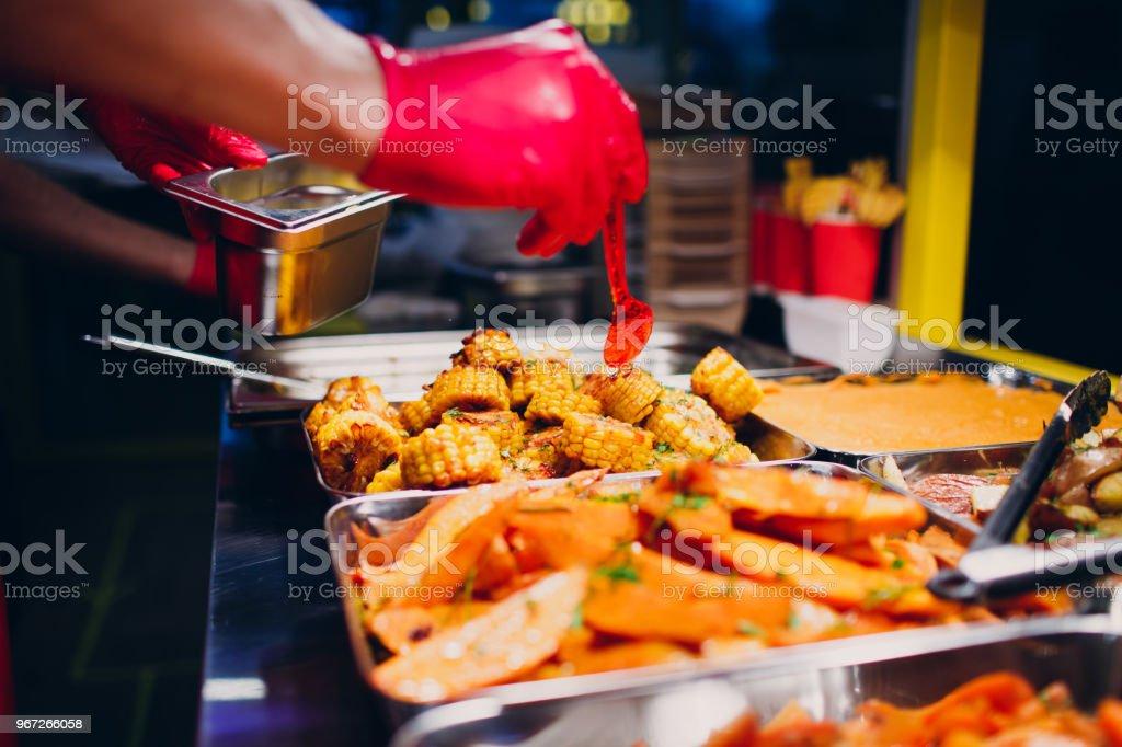 Food Court Concept Sweet Potato Carrot Corn Beet Stock Photo