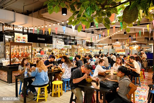 Chiang Mai Thailand - June 24, 2017 : Food court market , Unidentified popular tourists come shopping market is famous for food, sweets food and souvenirs at Robinson. Open daily, recommended places.
