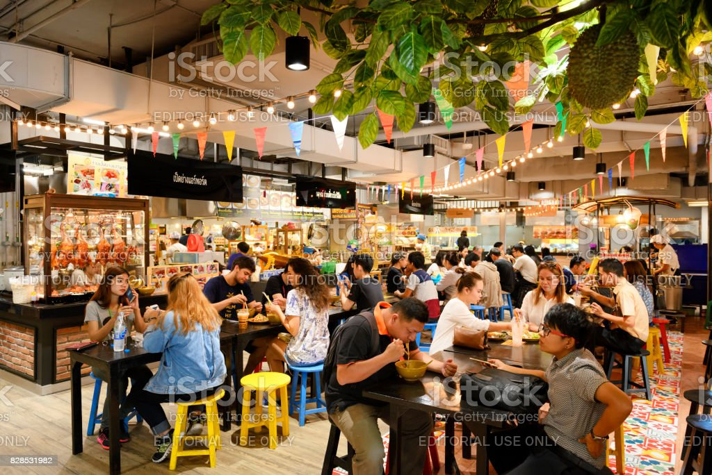 Food court market stock photo