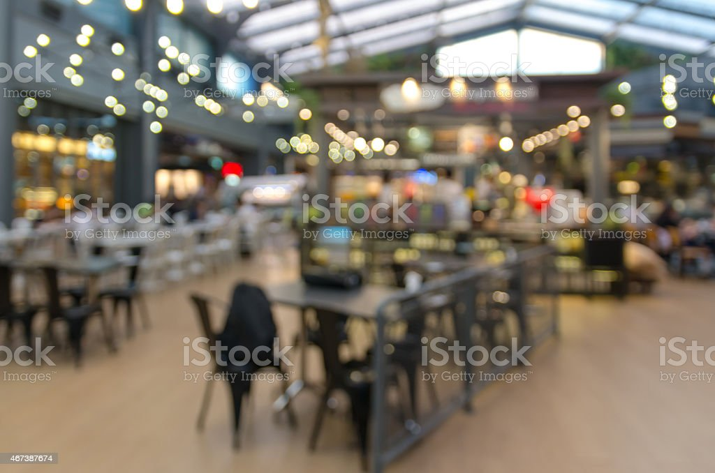 food court store blur background with bokeh stock photo