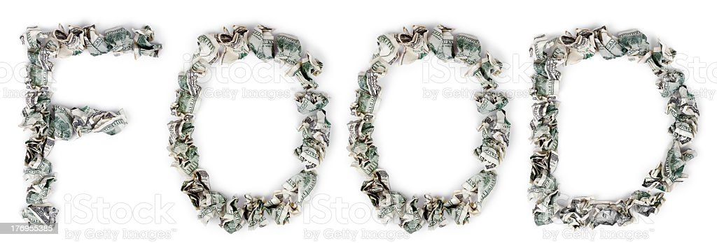 Food - Crimped 100$ Bills royalty-free stock photo