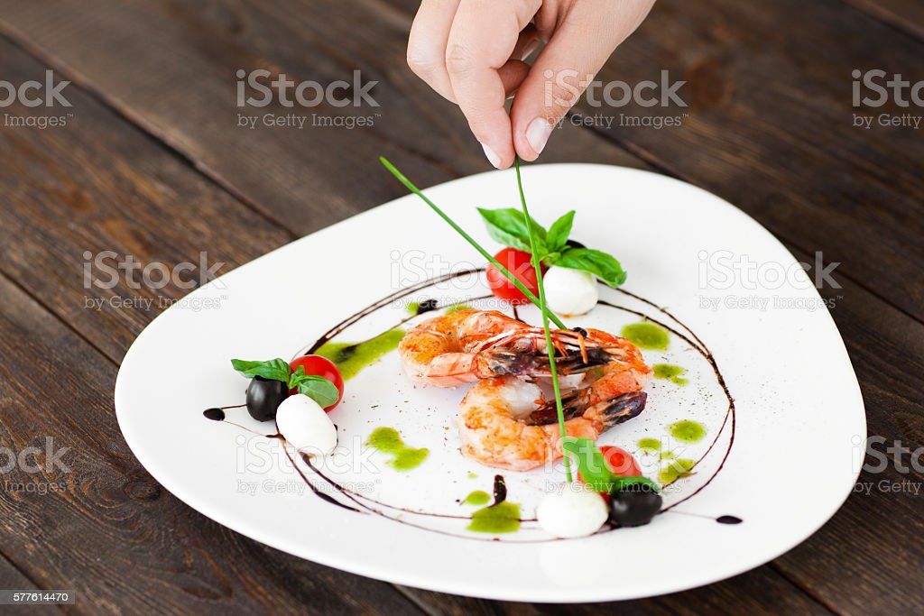 Food decoration. Plate with grilled shrimps royalty-free stock photo & Food Decoration Plate With Grilled Shrimps Stock Photo \u0026 More ...