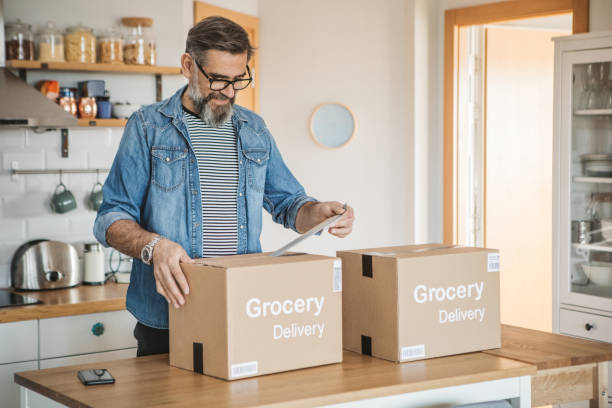 Food delivering in pandemic situation stock photo