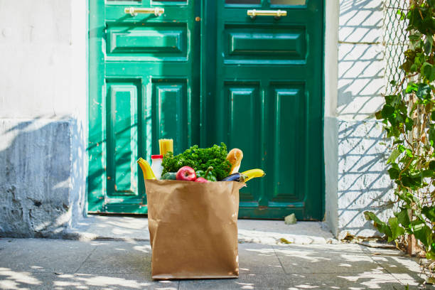 Food delivery during coronavirus outbreak stock photo