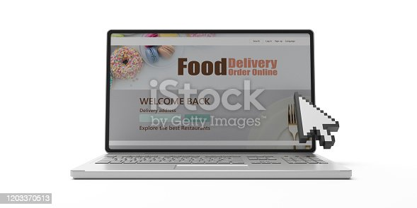 Food online order and delivery app on laptop computer screen isolated against white background. Takeaway food order delivery service application. 3d illustration