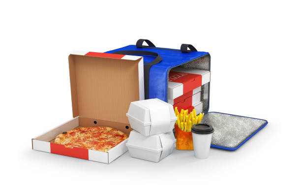 food delivery, pizza delivery, 3d illustration stock photo