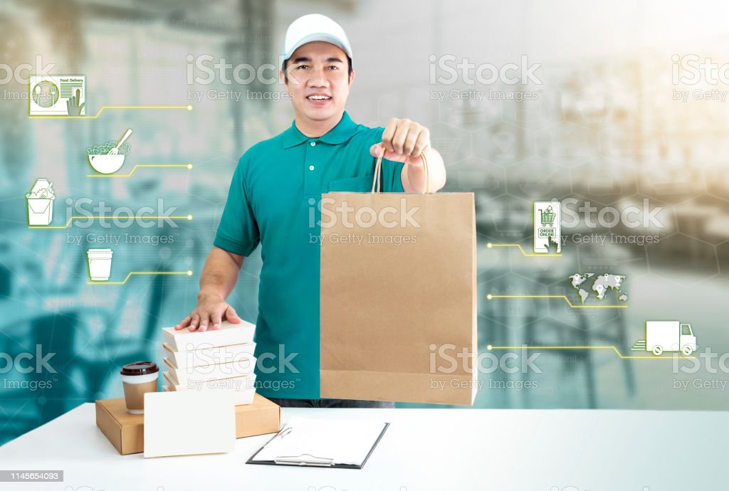 Food delivery service for order online and icon media. Delivery man...