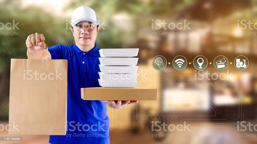 Food delivery service for order online shopping concept and icon...