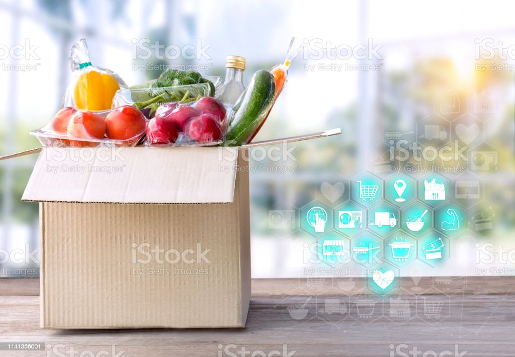 Vegetable delivery at home online order for cooking in packages box...