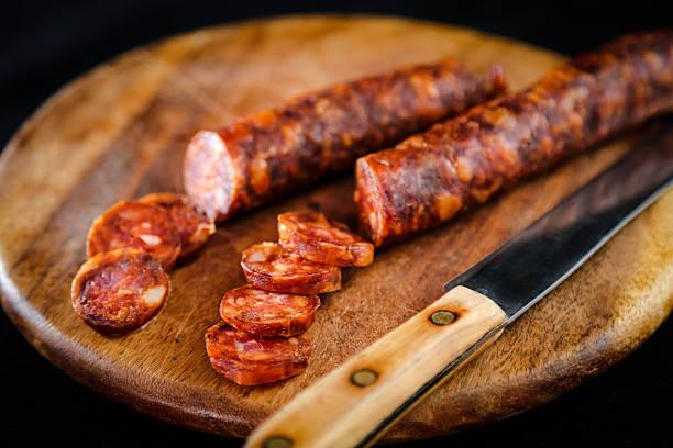 Food display, Home made meat salami sausage stock photo