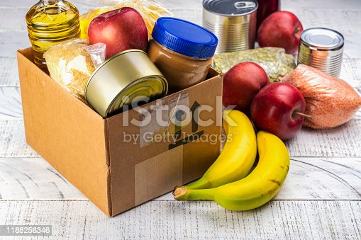 Food sharing concept. Fighting with overconsumption background. Various products in a food donation box
