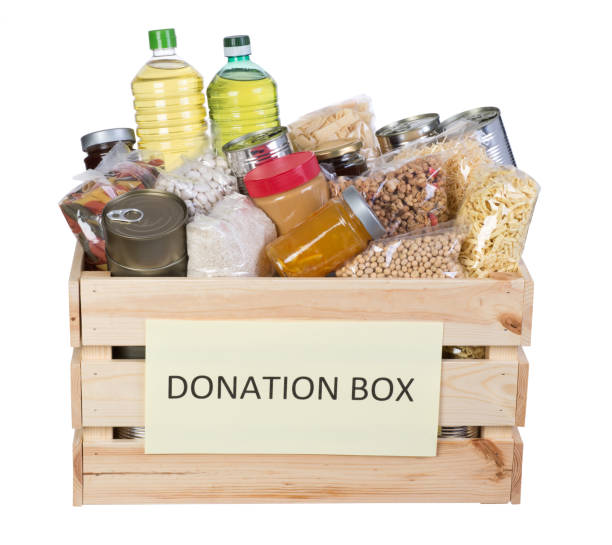 Food donations box stock photo