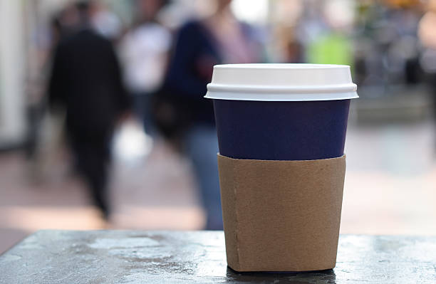 food drink - cup of coffee on a street background stock photo