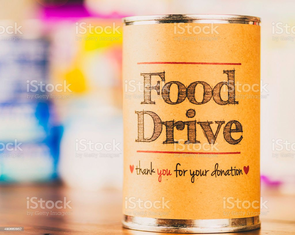 Food drive fundraising promotion. Helping the less fortunate. stock photo