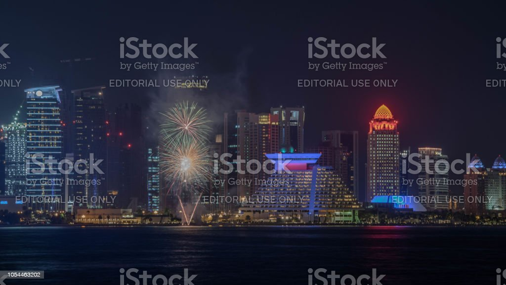 Food Festival Fireworks at Sheraton Hotel Qatar stock photo