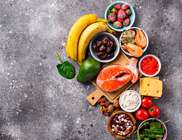 Food for good mood and happiness. Food for good mood and happiness. Serotonin sources amino acid stock pictures, royalty-free photos & images