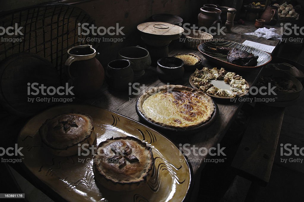 Food from a Tudor manor house kitchen stock photo