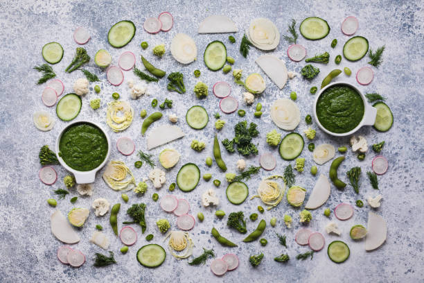 Food green vegetables pattern chopped vegetables texture background stock photo