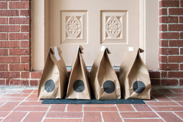 Food Groceries delivered at the Front Door stock photo