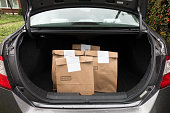 Food Groceries in Trunk of Car using curbside pickup service for social distancing.