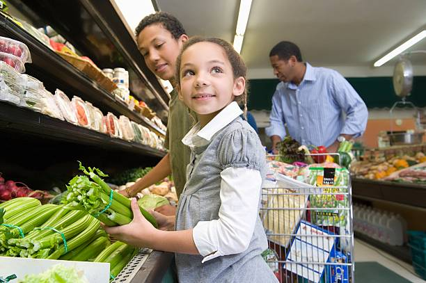 Food grocery shopping stock photo
